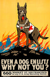 Even a Dog Enlists - US Army - 1917 - World War I - Recruitment Poster