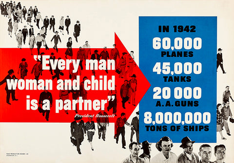 Every Man Woman Child Is A Partner - 1942 - World War II - Propaganda Poster