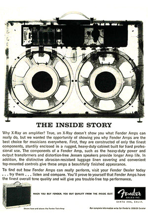 Fender Twin Guitar Amp - 1958 - Promotional Advertising Poster
