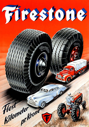 Firestone - 1950's - Promotional Advertising Poster