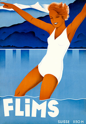 Flims - Switzerland - 1930's - Travel Poster