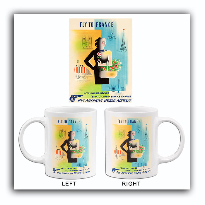 Fly To France - Pan American World Airways - 1949 - Travel Poster Mug