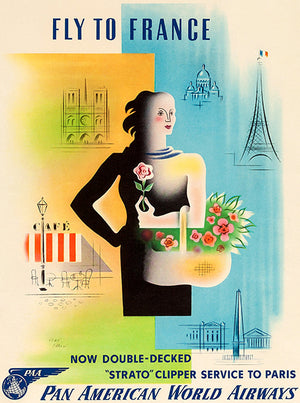 Fly To France - Pan American World Airways - 1949 - Travel Poster