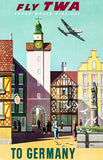 Fly TWA To Germany - Trans World Airlines - 1950's - Travel Poster