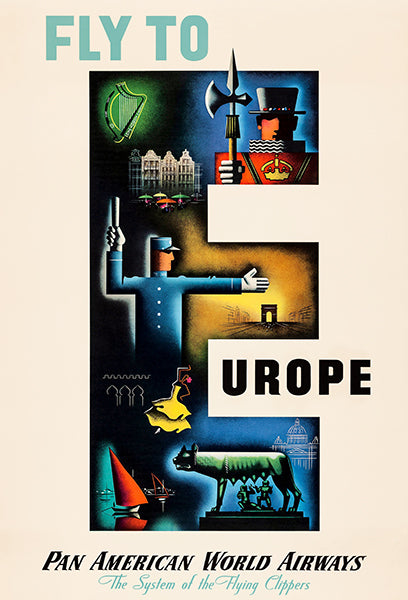 Fly To Europe - Pan American World Airways - 1949 - Travel Poster