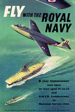 Fly With The Royal Navy - 1950 - Military Recruitment Poster