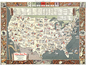 Folklore Music - 1945 - United States Pictorial Map