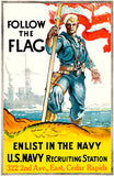 Follow The Flag - Enlist US Navy - 1917 - World War I - Recruitment Poster