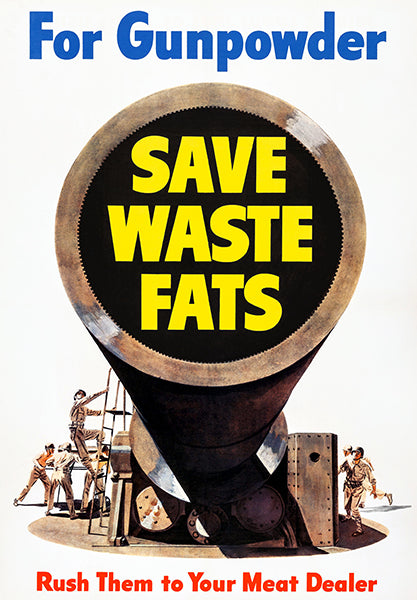 For Gunpowder - Save Waste Fats - 1943 - World War II - Propaganda Poster
