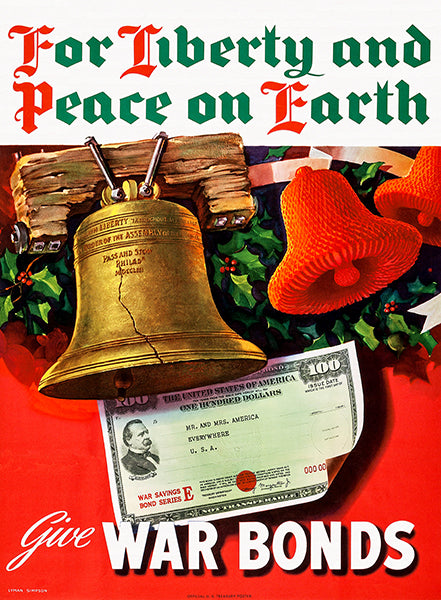 For Liberty And Peace On Earth - Christmas - 1944 - World War II - Propaganda Magnet