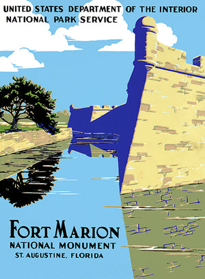 Fort Marion National Monument - St. Augustine, Florida - 1938 - Travel Poster Magnet