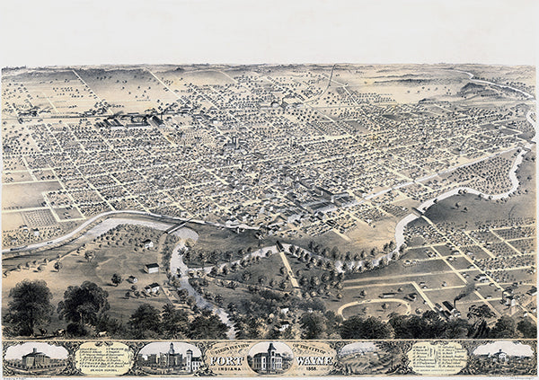Fort Wayne, Indiana - 1868 - Aerial Bird's Eye View Map Poster