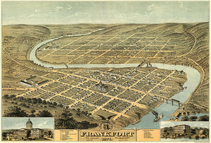 Frankfort, Kentucky - 1871 - Aerial Bird's Eye View Map Poster