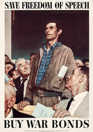 Freedom Of Speech - 1943 - World War II - Propaganda Poster