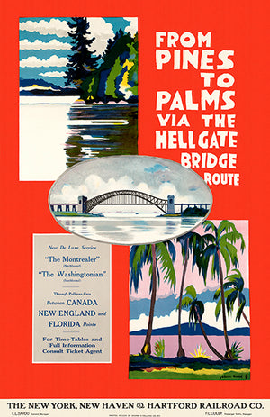 From Pines To Palms Via Hell Gate Bridge - Hartford Railroad - 1924 - Travel Poster