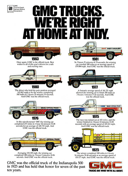 GMC Trucks - Indy - 1925-1983 - Promotional Advertising Poster