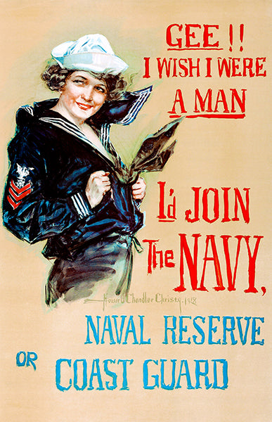 Gee I Wish - US Navy Coast Guard - 1917 - World War I - Recruitment Poster