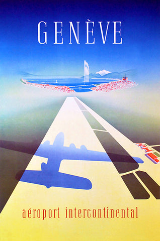 Geneve - Aeroport Intercontinental - 1949 - Travel Poster