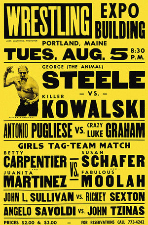 George The Animal Steele vs Killer Kowalski - 1970's - Wrestling Promotional Advertising Poster
