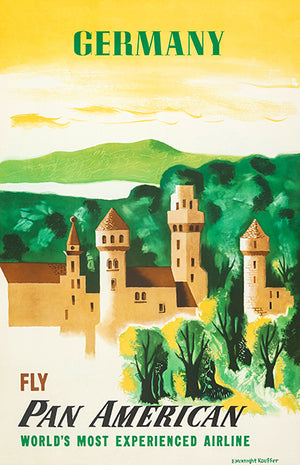Germany - Fly Pan American - 1950's - Travel Poster Magnet