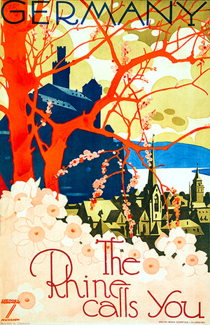 Germany - The Rhine Calls You - 1920 - Travel Poster Magnet