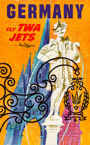 Germany - Fly TWA Jets - 1960's - Travel Poster