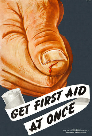 Get First Aid At Once - 1950's - Health Poster