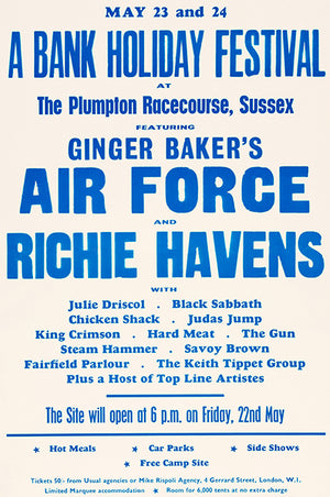 Ginger Baker's Air Force - Richie Havens - 1970 - Sussex - Concert Poster