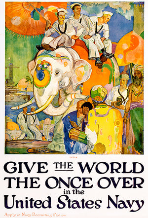 Give The World The Once Over - US Navy - 1919 - World War I - Recruitment Poster