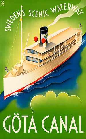 Gota Canal - Sweden's Scenic Waterway - 1930's - Travel Poster