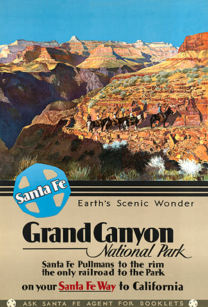 Grand Canyon National Park - Arizona - Santa Fe Railway - 1930's - Travel Poster