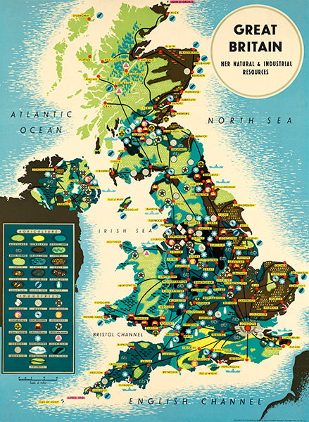 Great Britain's Natural And Industrial  Resources - 1930's - Pictorial Map