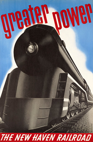 Greater Power - New Haven Railroad - 1930's - Travel Poster Magnet