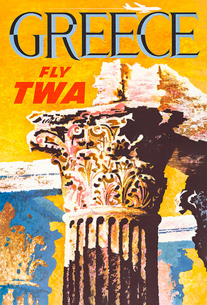 Greece - Fly TWA - 1960's - Travel Poster