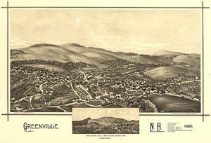 Greenville - Mason Village - New Hampshire - 1886 - Aerial Bird's Eye View Map Poster