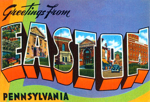 Greetings From Easton, Pennsylvania - 1930's - Vintage Postcard Poster