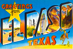 Greetings From El Paso, Texas - 1930's - Vintage Postcard Poster