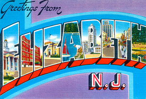 Greetings From Elizabeth, New Jersey - 1930's - Vintage Postcard Poster