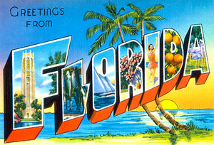 Greetings From Florida - Beach - 1930's - Vintage Postcard Poster