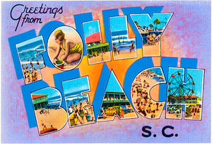 Greetings From Folly Beach, 1930's - Vintage Postcard Poster