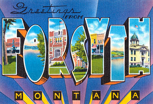 Greetings From Forsyth, Montana - 1930's - Vintage Postcard Poster