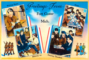 Greetings From Fort Custer, Michigan - 1930's - Vintage Postcard Poster