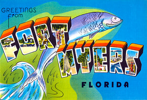 Greetings From Fort Myers, Florida  - 1930's - Vintage Postcard Magnet