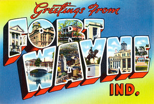 Greetings From Fort Wayne, Indiana  - 1930's - Vintage Postcard Magnet