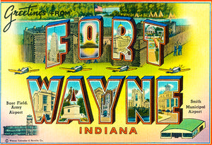 Greetings From Fort Wayne, Indiana - Baer Field Army Airport - 1930's - Vintage Postcard Magnet