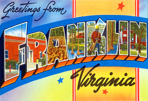 Greetings From Franklin, Virginia -  1930's - Vintage Postcard Magnet