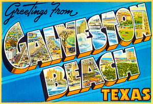 Greetings From Galveston, Texas - 1930's - Vintage Postcard Magnet