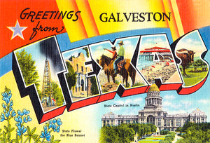 Greetings From Galveston, Texas - Austin - 1930's - Vintage Postcard Magnet