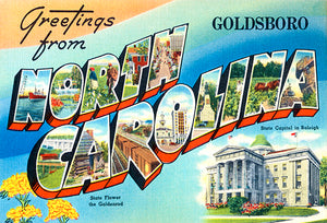 Greetings From Goldsboro, North Carolina - Raleigh - 1930's - Vintage Postcard Magnet