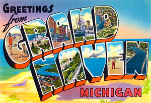 Greetings From Grand Haven, Michigan - 1930's - Vintage Postcard Magnet